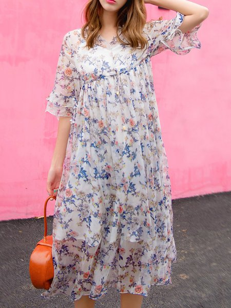 Polyester Bell Sleeve Printed Casual V Neck Midi Dress with Cami
