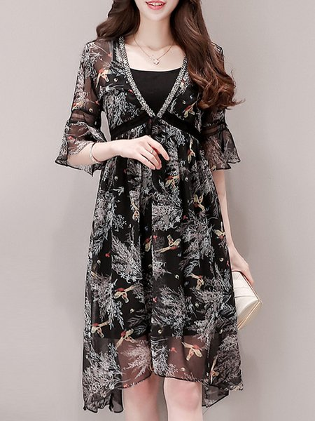 Black See-through Look Bell Sleeve Two Piece Polyester Midi Dress