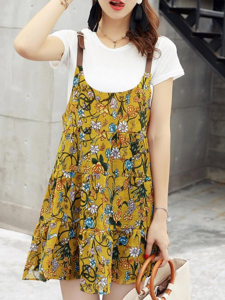 Printed Short Sleeve Casual Floral Dress With T-shirt