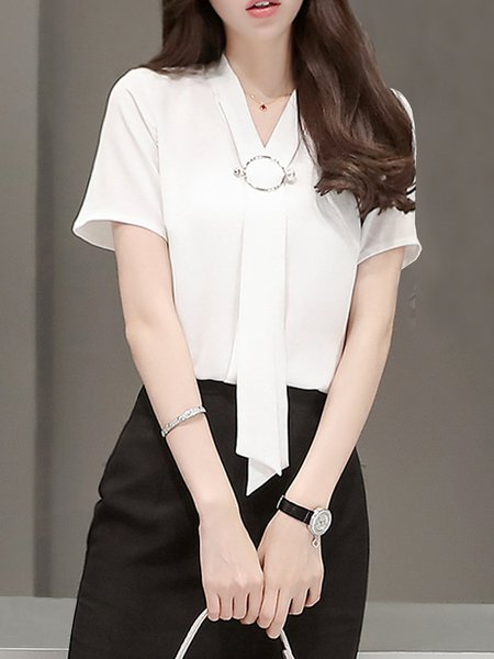 Elegant Solid Spandex Shorts Sleeve Blouse