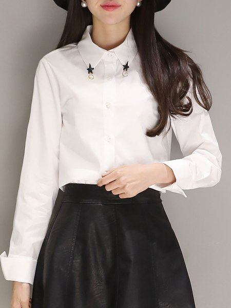 White Long Sleeve Solid Blouse