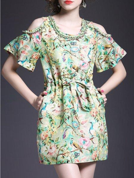 Multicolor Polyandrum Cold Shoulder A-line Mini Dress