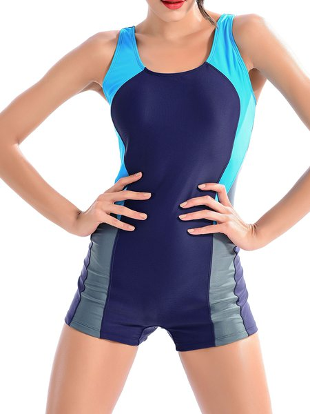 Navy Blue Straped Color-block Padded Spandex One-Pieces