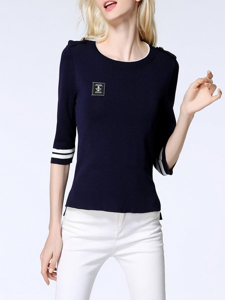 Knitted Half Sleeve Crew Neck Sweater