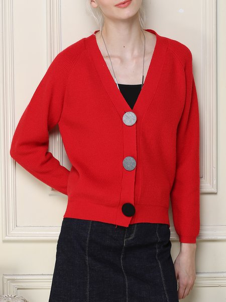 Red Solid Knitted V Neck Buttoned Long Sleeve Cardigan