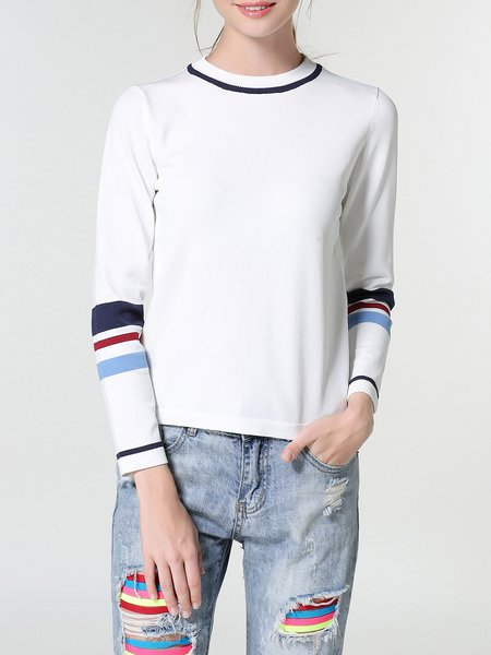 White Knitted Stripes Long Sleeved Top