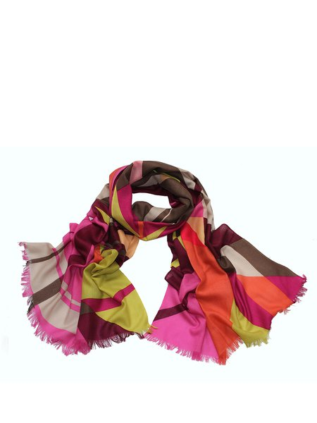Color Block Casual Geometric Wool Scarf