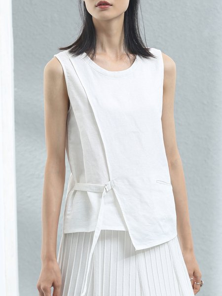 Casual Sleeveless Asymmetric Cotton-blend Tank And Cami
