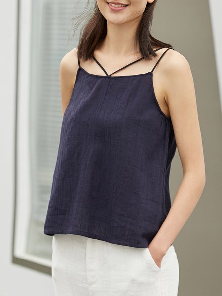 Navy Blue Solid Spaghetti Spaghetti Tanks And Cami