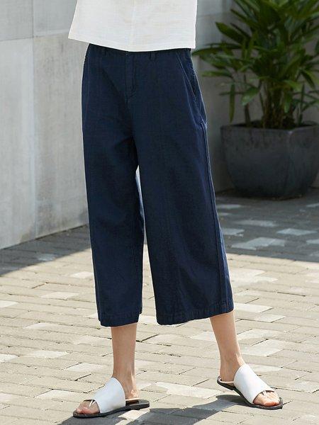 Pockets Simple Cotton Wide Leg Pants