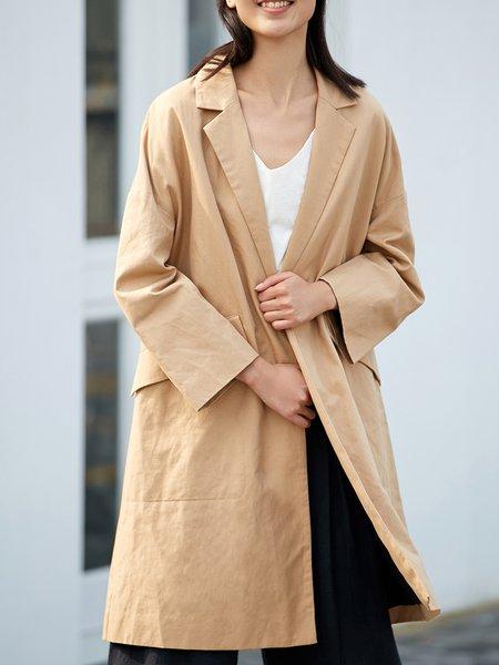 Khaki Cotton-blend Simple Pockets Solid Coat