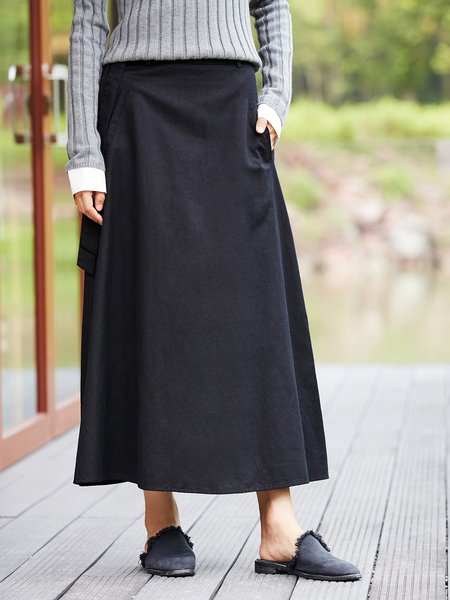 Pockets Casual A-line Midi Skirt