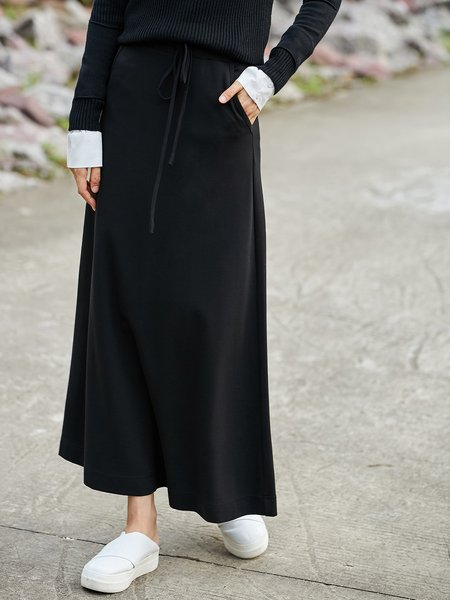 Simple A-line Pockets Solid Midi Skirt