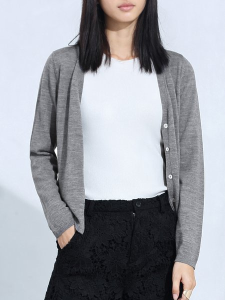 V Neck Long Sleeve Wool Cardigan
