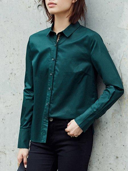 Shirt Collar Long Sleeve Solid Asymmetric Blouse