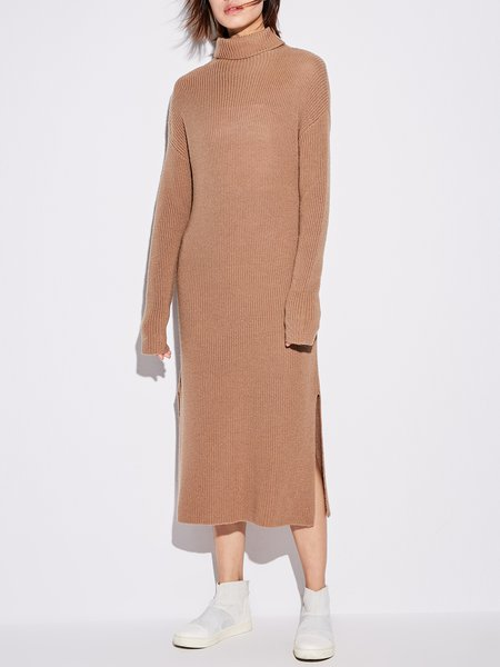 Simple Long Sleeve Shift Wool Sweater