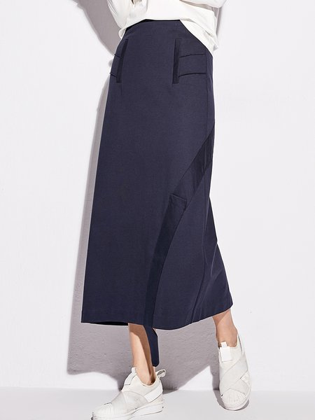 Cotton Solid Casual Paneled Midi Skirt