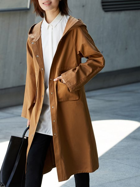 Casual Long Sleeve Cotton Pockets Coat