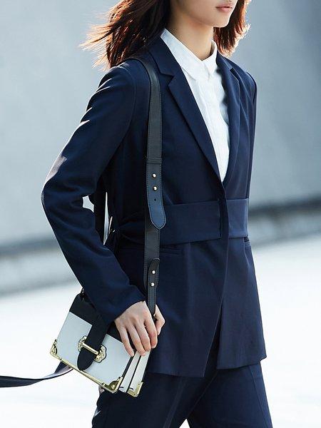 Solid Lapel Long Sleeve Blazer