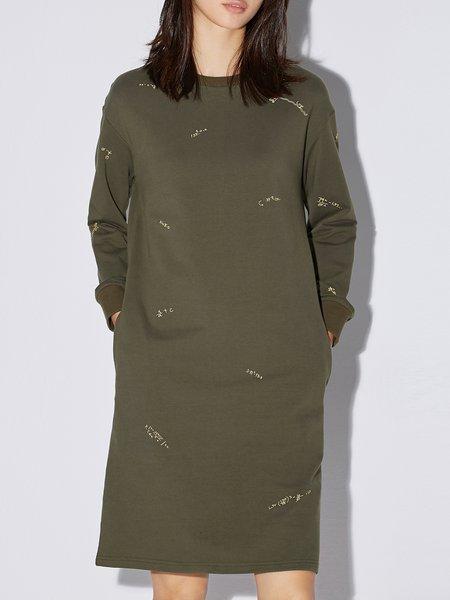 Shift Long Sleeve Simple Crew Neck Midi Dress