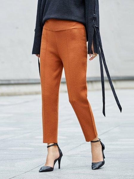 Simple Nylon Solid Straight Leg Pants