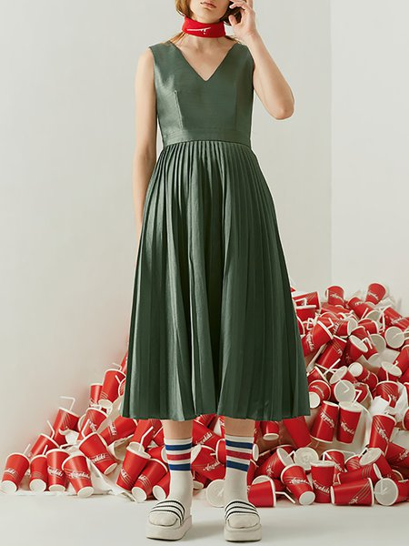 Green H-line Cotton-blend V Neck Simple Midi Dress