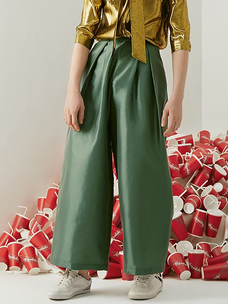Green Folds Cotton-blend Wide Leg Pants