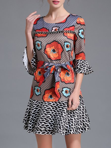 Orange Floral Printed Frill Sleeve Mini Dress
