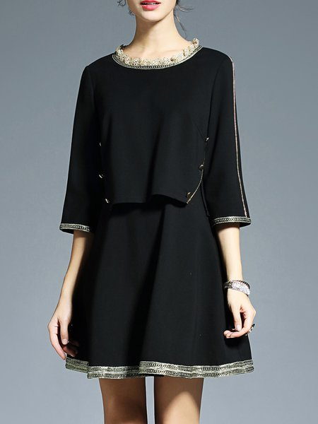 Black Paneled Casual A-line Crew Neck Mini Dress