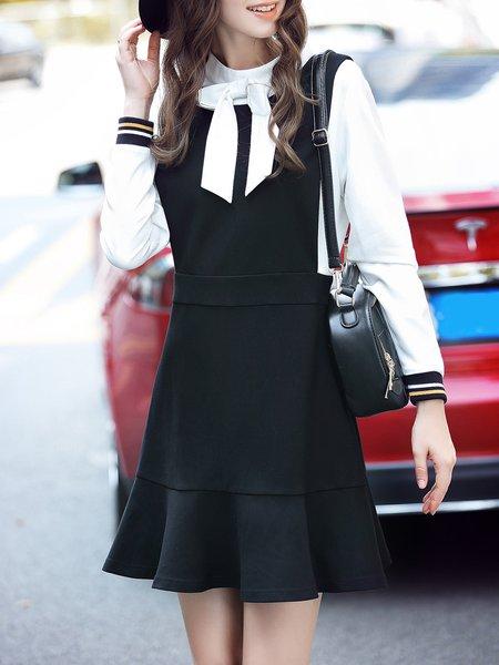 Black Girly Stand Collar Ruffled Mini Dress