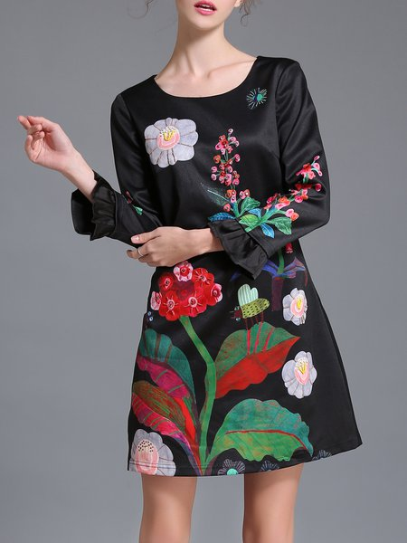 Black Frill Sleeve Shift Floral Printed Mini Dress