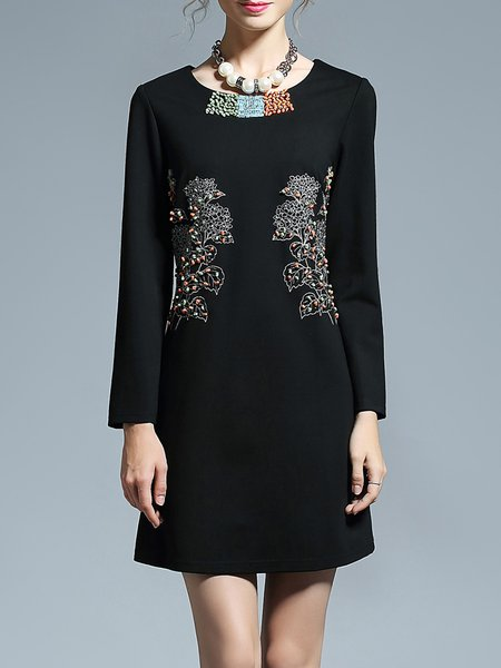 Black A-line Embroidered Long Sleeve Mini Dress