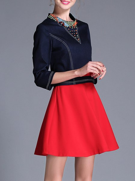 Red Paneled 3/4 Sleeve A-line Beaded Mini Dress