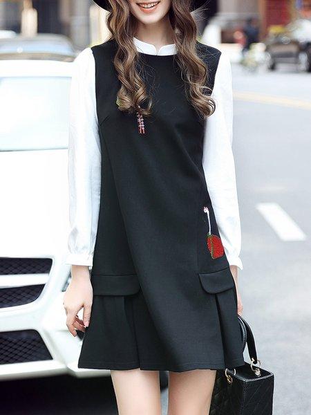 Black Animal Embroidered Color Block Long Sleeve Mini Dress