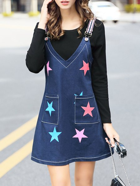 Blue Two Piece Long Sleeve Tops Printed Spaghetti Casual Mini Dress