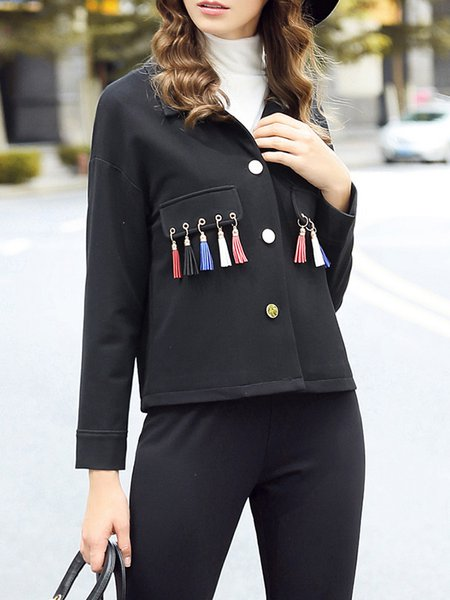 Black Shirt Collar Fringed Casual Cropped Jacket