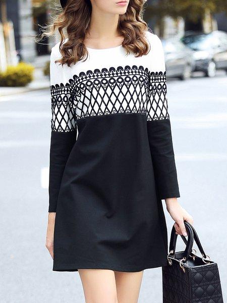 Black  Long Sleeve Geometric Color Block Mini Dress