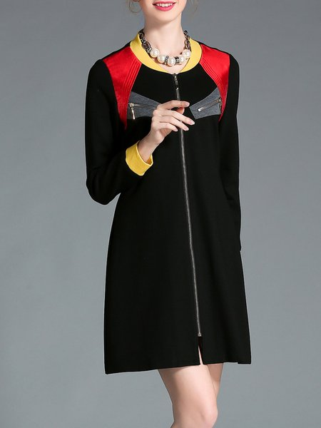 Black Nylon Shift Casual V Neck Mini Dress