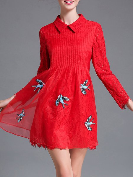Red Lace Stitching Animal Embroidered A-line Mini Dress