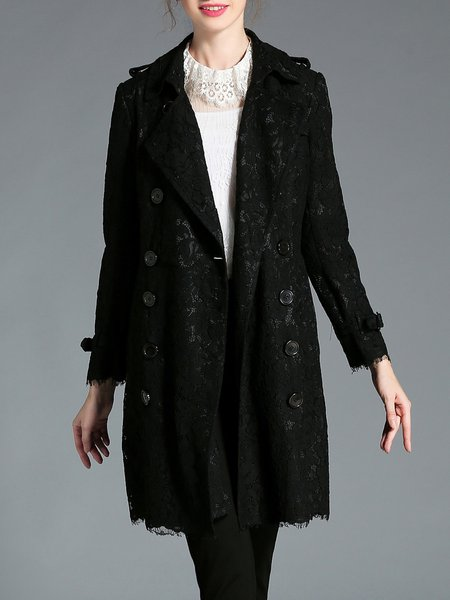 Black Paneled Floral Work Trench Coat