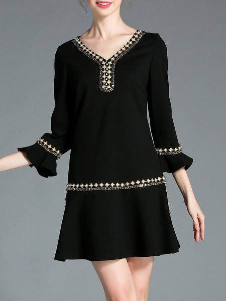 Ruffled 3/4 Sleeve V Neck Casual Plain Mini Dress