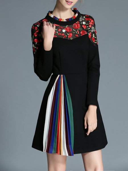 Black Long Sleeve Paneled Color-block Mini Dress
