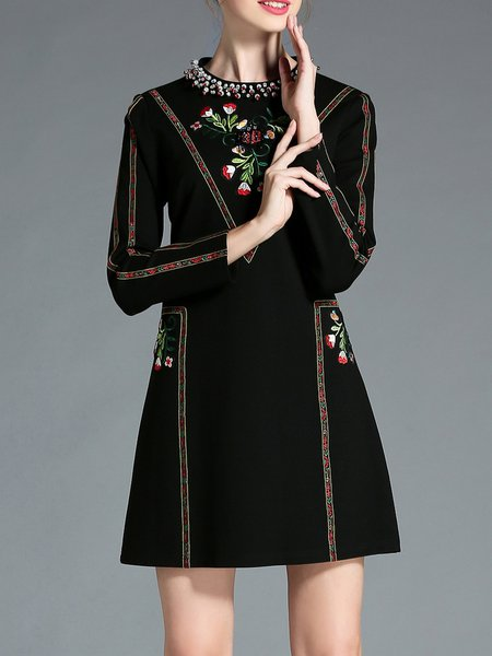 Black Elegant Floral-embroidered Beaded Mini Dress