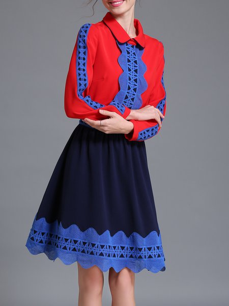 Blue Girly Color-block Midi Dress