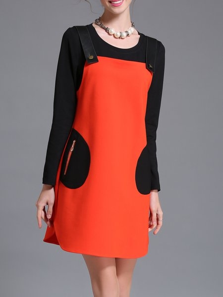 Orange Two Piece Color Block Spaghetti Mini Dress With Camis