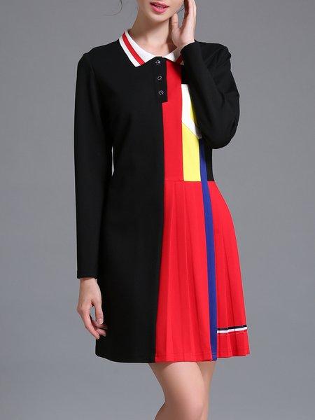Black Color Block Elegant A-line Mini Dress