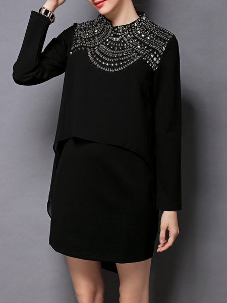 Black Beaded Long Sleeve Cotton-blend Crew Neck Midi Dress