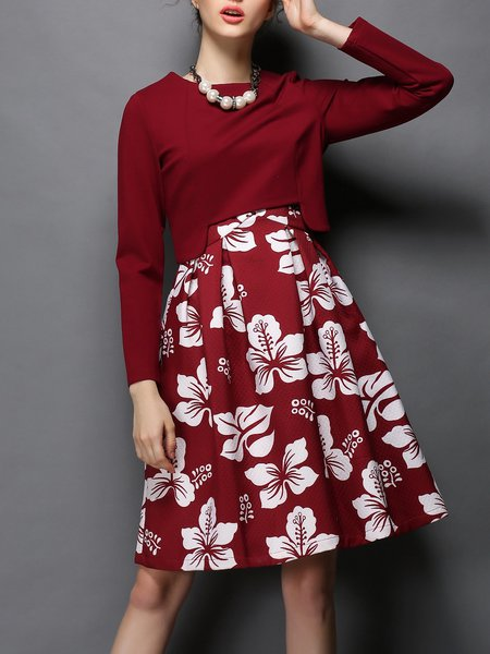Red Floral Printed Elegant Two Piece A-line Midi Dress