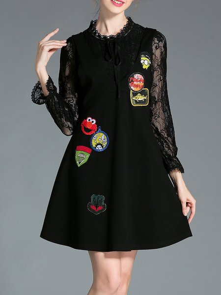 Black Two Piece Long Sleeve Appliqued Mini Dress