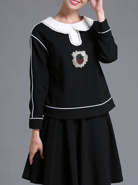 Black Paneled Cute Long Sleeved Top